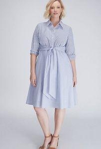 Mixed-Stripe Shirtdress With Tie Waist
